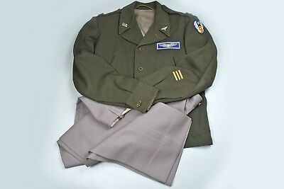 WWII U.S. 9th AIR FORCE OFFICER'S B14 JACKET w/BULLION COMBAT CREW WING & PINK T