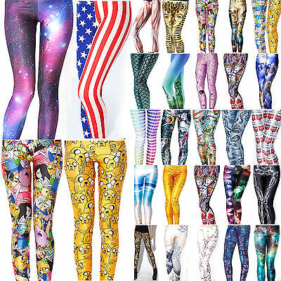 Women 3D Print Leggings Sports Yoga Gym Fitness Skinny Running Pants Trousers US