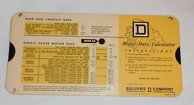 Vintage Square D Company Motor Data Calculator Slide Rule Graybar