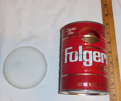 vintage Folger's Coffee Mountain Grown Classic Perc EMPTY Tin Can one pound 1 LB