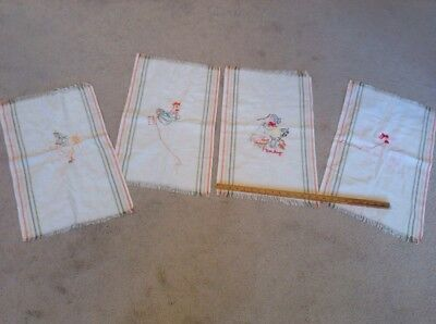 Vintage Cotton Kitchen Tea Towels Lot Of 4 Embroidered UNFINISHED Chickens