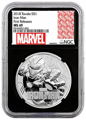 2018 Tuvalu Iron Man 1 oz Silver Marvel Series NGC MS69 FR Blk