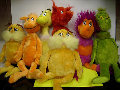 LOT NICE Seuss plush stuffed animals lorax cat in hat sneeches grinch retired