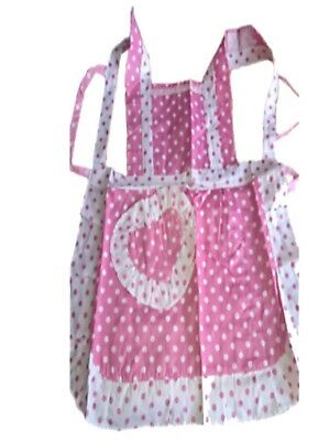 Pinafore Apron Pink Polka Dot Cotton Lined Adult