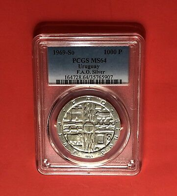 Uruguay-1969-So Unc 1000 Pesos(F.a.o) Silver Coin ,graded By Pcs64