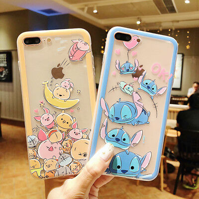 Disney Cartoon Stitch Winnie Phone Case Silicone Cover For iPhone X 8 7 6 9 Plus