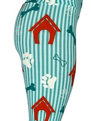 4af00bbbdd Dog Puppy Paw Prints Houses Bones Yoga One Size Legging OS Buttery FREE  SHIPPING
