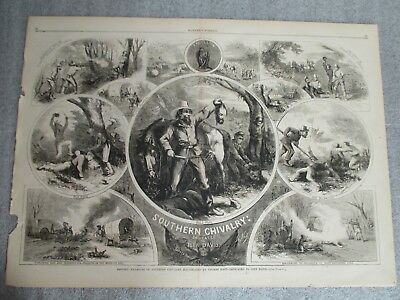 Civil War 1863 THOMAS NAST Large Political Print Southern Chivalry Harpers