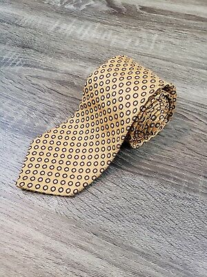 Hugo Boss Mens Neck Tie Gold Geometric Pattern 100% Silk Made in Italy
