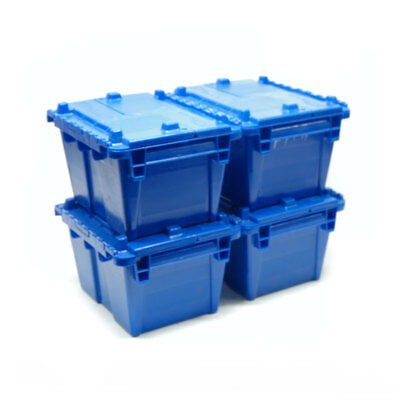 (4) LewisBins LewisSystems FP-03 Blue Attached Lid Containers, 0.3 Cubic Ft