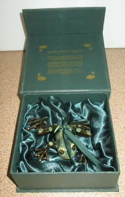 Green Brown Glazed Ceramic Frog Ornament Golden Pond Collection In Original Box