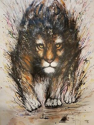 Large Amazing HUGE painting Splash Tiger 47x70 inch oil acrylic hand painted art
