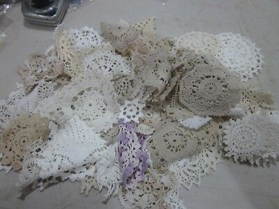 Tiny to Small - crocheted Doily pieces - 108 pieces  - Beige,cream,white