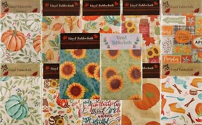 Autumn Vinyl Tablecloths-Leaves, Sunflowers, Pumpkins, Animals and Country Check