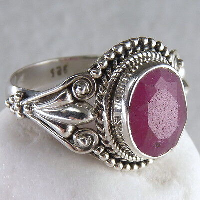 Filigree Feature Sz US 7.5 SilverSari Gemstone Ring Solid 925 Silver/INDIAN RUBY