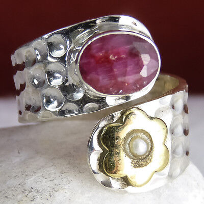 Daisy Wrap Ring US 4-7 (Adjust.) SilverSari Solid 925 Silver INDIAN RUBY + PEARL