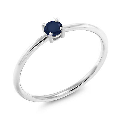 0.24 Ct Round Blue Sapphire 10K White Gold Solitaire Engagement Ring