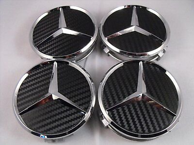 4x75mm Mercedes Benz Black Carbon Wheel Cover Hub Center Caps A1714000025
