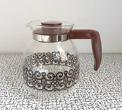 70s Vintage Retro Kitsch Brown Pyrex Glass Coffee Jug Hot Drinks Heat Resistant
