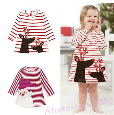 Toddler Baby Kids Girls Deer Santa Striped Princess Chrismas Dresses Costume New