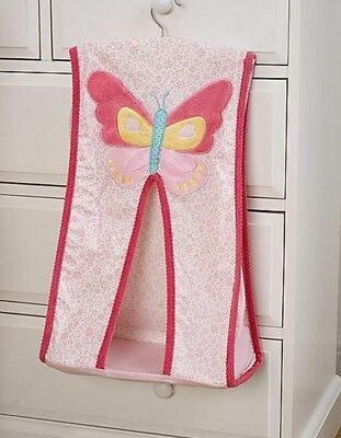 Nursery Baby Nappy Stacker Butterfly Embroidered Floral White Pink Yellow Blue