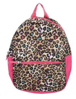 "15"" Cheetah Spots Pink BACKPACK School Book Bag Pre-K Toddler CANVAS Tote Girls"