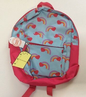 "15"" HEARTS + RAINBOWS BACKPACK School Book Bag Pre-K Toddler CANVAS Tote Girls"