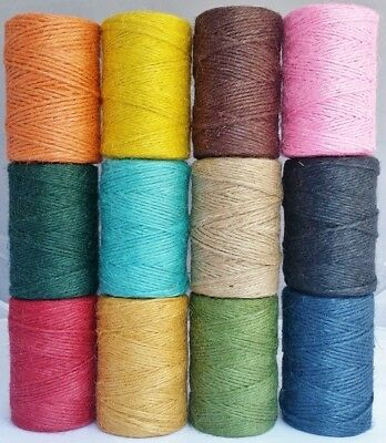 3 Ply Coloured Jute Twine Spool of 100mtrs Gift Garden Burlap Craft string cord