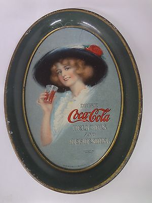 Authentic 1913 Coca Cola Coke Tin Vintage Antique Advertising Tip Tray   319-R