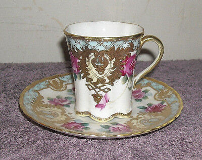 Nippon Raised Gold Decoration Pink Cabbage Rose Cup & Saucer