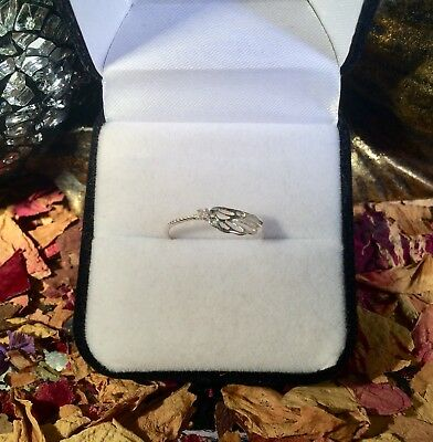 Cute natural Argyle Pink Diamond 1.5mm sterling silver angel ring size 8 💕