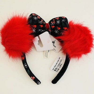 Disney Parks Minnie Mouse Ears Christmas Red Puffs Bow Holiday Headband Fluffy