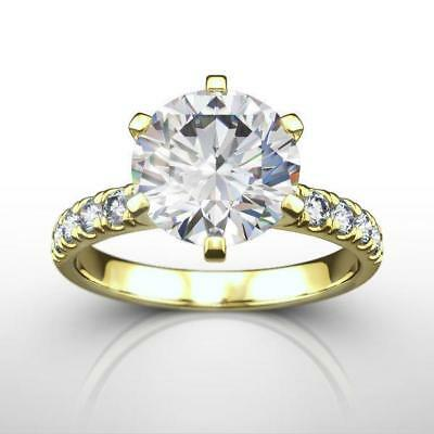 Round Diamond Ring Estate 18K Yellow Gold Fabulous Earth Mined 4 Ct Size 4.5 - 9