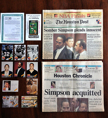 OJ Simpson Collectible Prepaid Phone Card,10 Promotional Cards & Newspaper