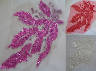 Luxury Large pcs beaded floral lace applique sequined lace motif various colours