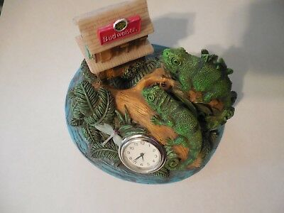 Budweiser Lizard Gecko Desk Clock Advertising 1999 Anheuser Busch