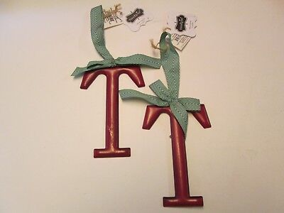 Tin Initial T Ornaments with Green Striped Bows, Red, Set of 2, NWT