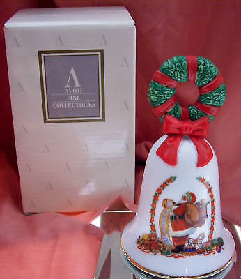 Avon PORCELAIN BELL Santa w/List 1995 HOLIDAY NIB * FREE SHIP