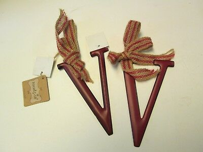 Tin Initial V Ornaments with Burlap Bows, Red, Set of 2, NWT