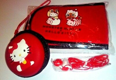 RARE Sanrio Hello Kitty X Monster Hunter Nintendo 3DS Case Lot Earbuds Zip Pouch