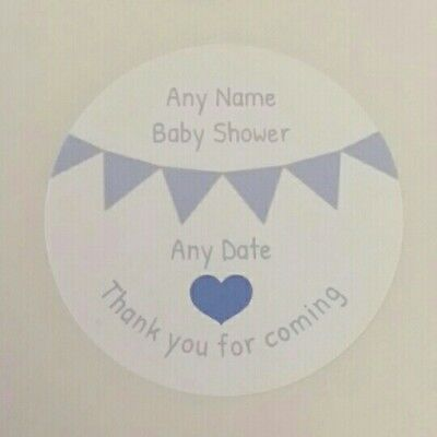 Personalised round blue baby shower stickers thank you for coming Favour heart