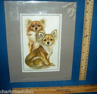 """Chihuahua  Dog Art Print Matted 8"""" X 10""""   Signed By Artist  Long Hair Haired"""