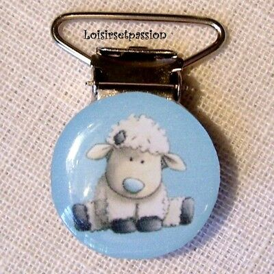 CLIP ATTACHE TÉTINE, ANIMAL MOUTON BLANC Fond Bleu, PINCE BRETELLE DOUDOU - C48