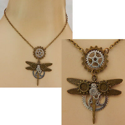 Steampunk Necklace Dragonfly Pendant Jewelry Handmade NEW Cosplay Gears Fashion