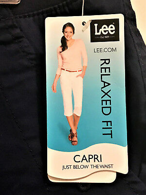 New!  $48  Women's Lee Relaxed Fit Midnight Blue Capri Jeans!   Sz 10   Nwt!