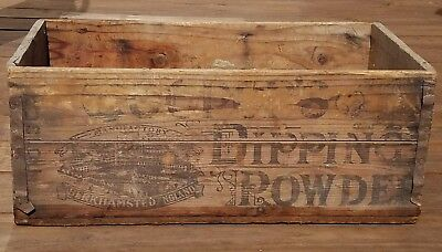 Cooper's Dipping Powder POISON Antique Vintage Rustic Wood Wooden Box Crate RARE