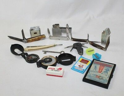 Vintage Junk Drawer Lot - 4 Knives, Multi-Tool, 3 Lighters, Razor, Compass More!