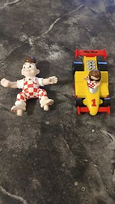 2 Big Boy Restaurants Action Figure Toys Surfer no board, RACE CAR from 1990