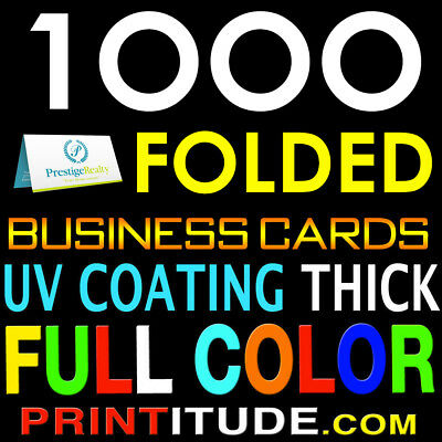 1000 FULL COLOR HALF FOLDED DOUBLE SIDED BUSINESS CARD 14PT UV Coated GLOSSY