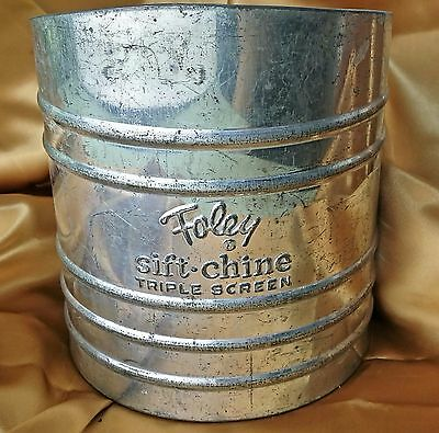 "Vintage FOLEY SIFT-CHINE TRIPLE SCREEN Flour Baking Sifter 6"" Tall farmhouse *et"